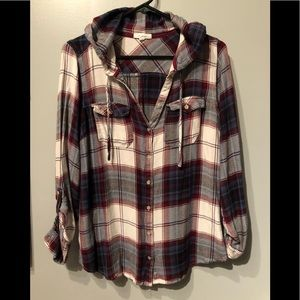Maurices hooded flannel shirt